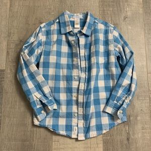 Janie and Jack Blue Checkered Button Down Shirt